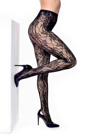 Orchid Leaf Tights in Black by PM TIGHTS