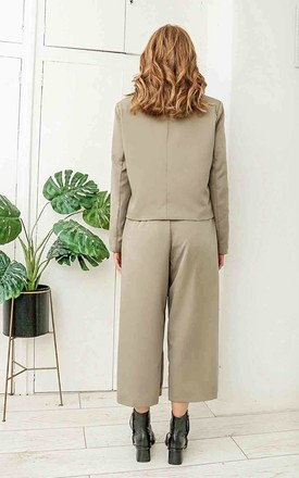 Olive Taylor Wide Leg Crop Trousers by Urban Bliss