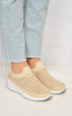 Mary Diamante Mesh Knit Slip On Trainer in Beige by Miss Diva