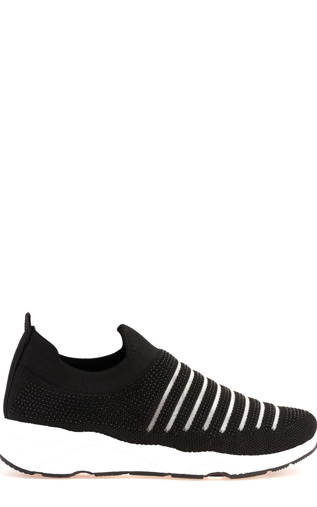 Mary Diamante Mesh Knit Slip On Trainer in Black by Miss Diva