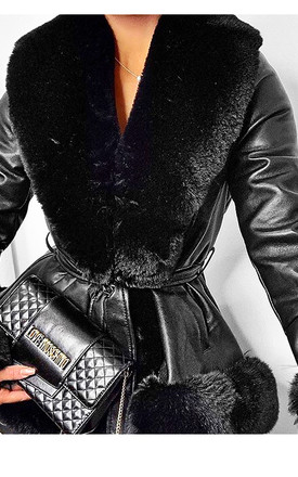 Black Leather Look Belted Coat With Faux Fur Trims by The ModestMe Collection