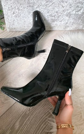 Sally Heeled Ankle Boots in Black P by IKRUSH