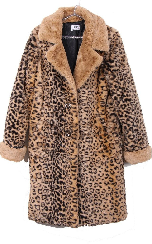 Ultra Soft Leopard Print Faux Fur Coat in Beige by LOES House
