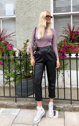 Black Faux Leather High Waisted Trousers by FreeSpirits