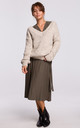 Loose Pullover with Deep V-Neck in Beige by MOE
