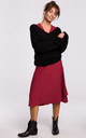 Loose Pullover with Deep V-Neck in Black by MOE