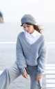 Loose Pullover with Deep V-Neck in Grey by MOE