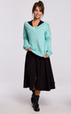 Loose Pullover with Deep V-Neck in Mint by MOE