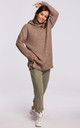 Cozy Oversized Turtleneck Sweater in Light Brown by MOE