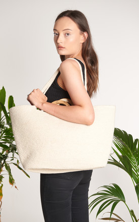 Sia Large Cotton Shopper Bag with Wood Handle by ellyla -ethical & eco friendly accessories