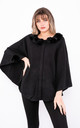 Luxury winter Poncho with Buttons (Black) by Lucy Sparks
