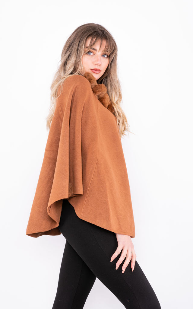 Luxury winter Poncho with Buttons (Camel) by Lucy Sparks