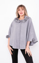 Luxury winter Poncho with Buttons (Grey) by Lucy Sparks