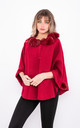 Luxury winter Poncho with Buttons (Red) by Lucy Sparks