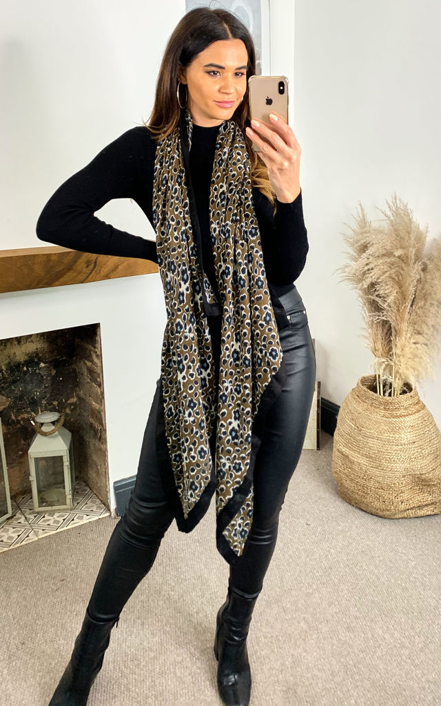 Leopard Print Scarf with black lining in Olive Green by TENKI LONDON