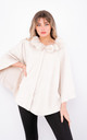 Luxury winter Poncho with Buttons (White) by Lucy Sparks