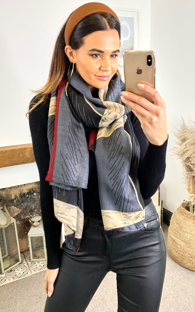 Lines Print Scarf with Red lining in Multi Grey by TENKI LONDON