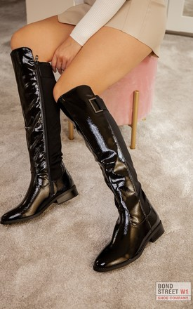 Wide Calf Patent Knee Boot by Bond Street Shoe Company