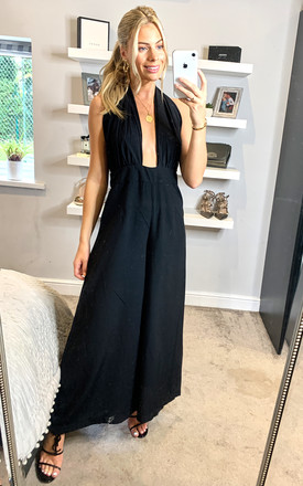 Miami Halterneck 70s Jumpsuit in Black by Traffic People
