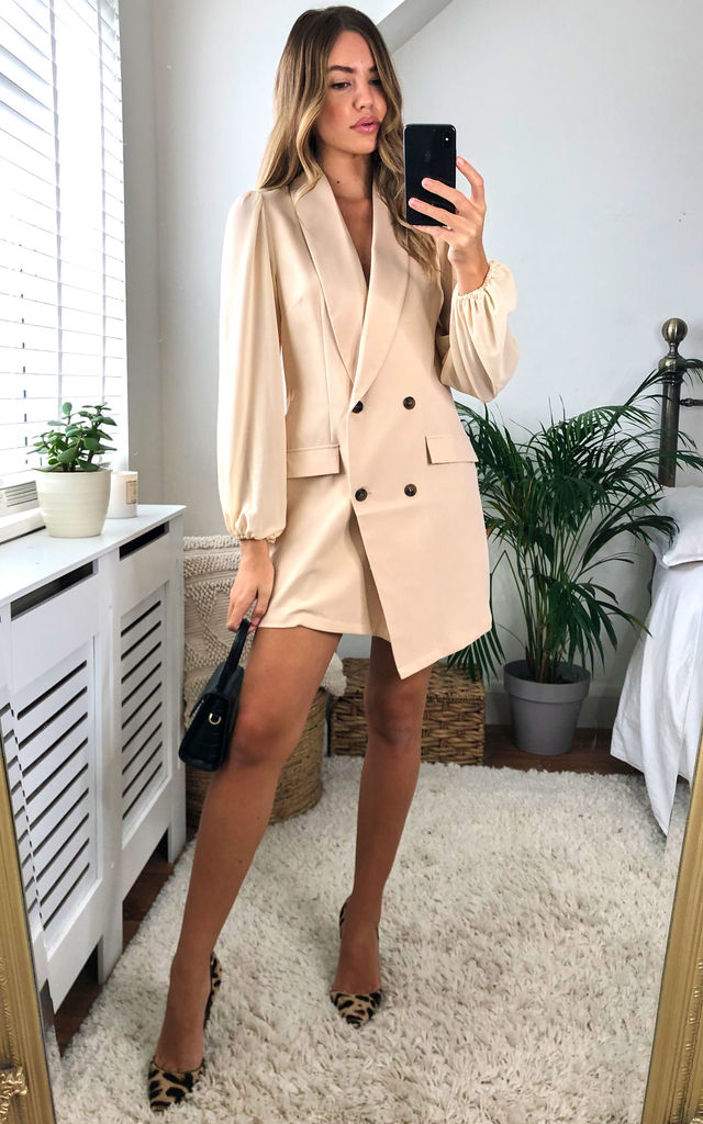 Asymmetric Long Sleeved Blazer Dress Nude by UNIQUE21