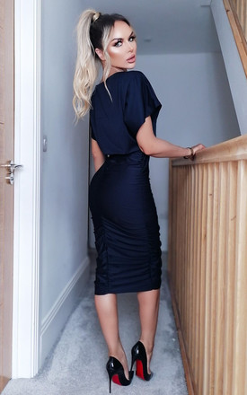 Athena Navy Ruched Front Bodycon Midi Dress by Missfiga