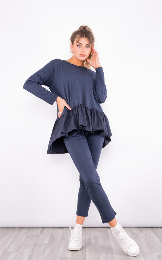 soft knitted RuffLe Hem loungewear set in Navy by LOES House