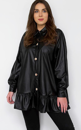 Faux Leather Oversized Blouse by Styled By Grazia