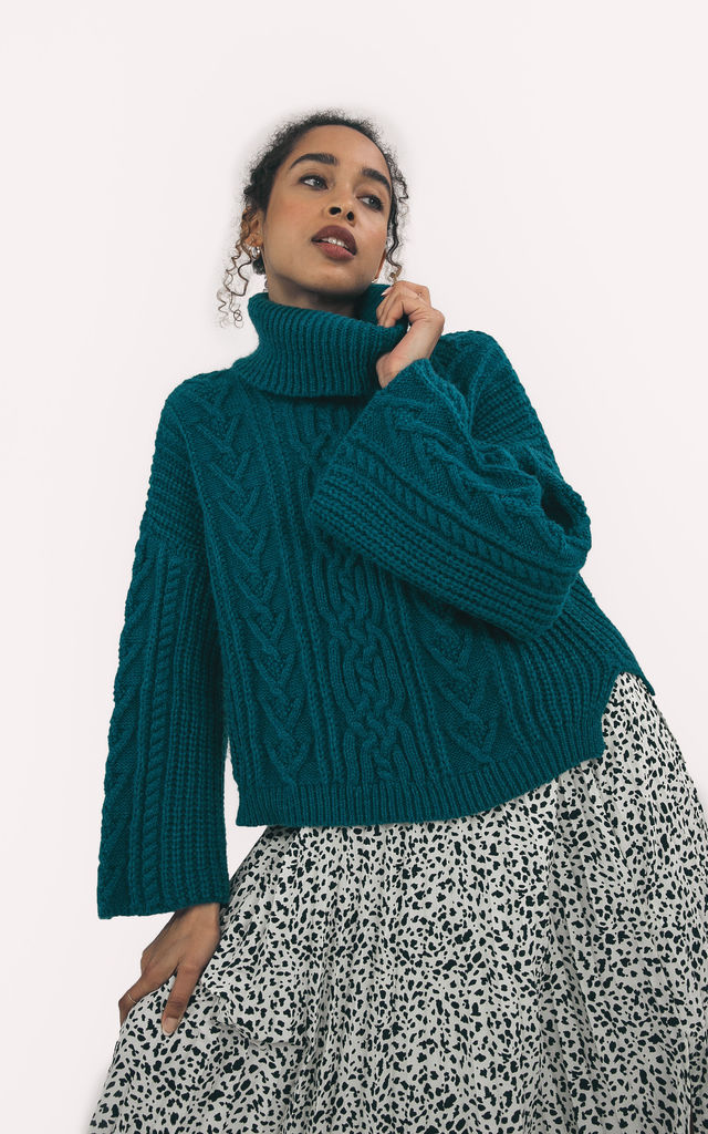 Coral Cable Roll Neck Jumper In Teal by Cara & The Sky