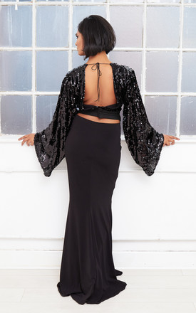 ANGELINA backless sequin winged evening gown by Dolls Of Decadence
