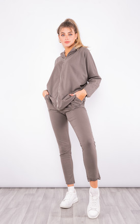 Hoodie co-ord with wing design (Taupe) by Lucy Sparks