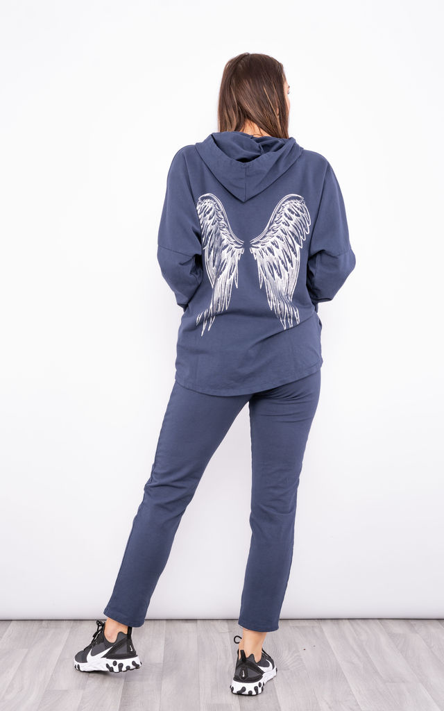 Hoodie co-ord with wing design (Navy) by Lucy Sparks