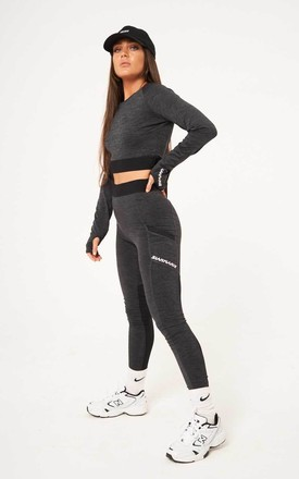 Contour Cropped Fitted Long Sleeved Tee - Dark Grey by sianmarie.com