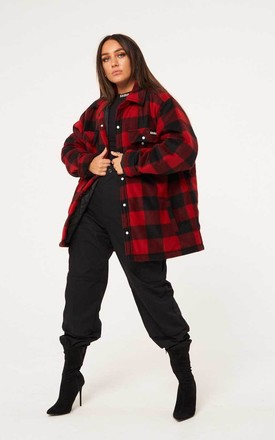 Checked Fleece Jacket - Red by sianmarie.com