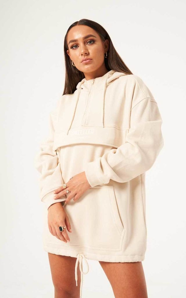 Oversized Pull Over Zip Hoodie - Nude by sianmarie.com