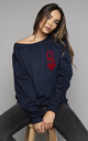 Queen of Hearts Oversized Navy Sweatshirt by James Steward