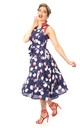 Vintage Style Collared Midi Dress in Navy Flora Print by Looking Glam