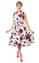 Vintage Style Collared Midi Dress in White With Burgundy Floral Print by Looking Glam