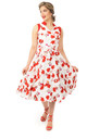 Vintage Style Collared Midi Dress in Red Floral Print by Looking Glam