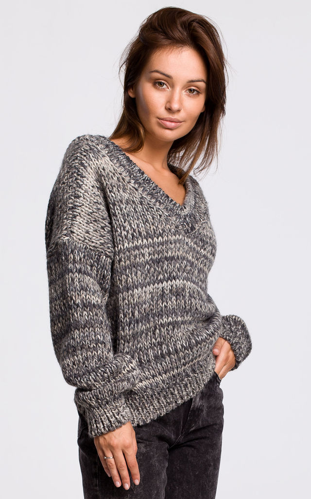 Comfy Pullover with Deep V-Neck in Grey by MOE