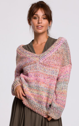 Comfy Pullover with Deep V-Neck in Pink by MOE