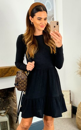 Ribbed Long Sleeve Dress With Tiered Detail In Black by VILA Product photo