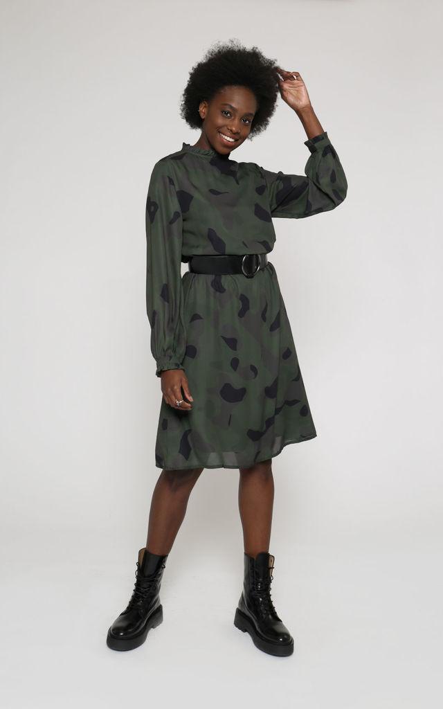 Valdivian sustainable long-sleeve dress with camouflage print by VILDNIS