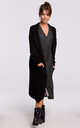 Long Oversized Cardigan with Pockets in Black by MOE