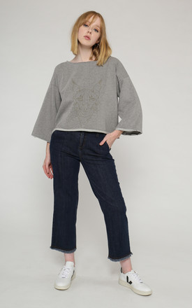 Moraine 7/8 organic cotton jeans with frayed hem by VILDNIS