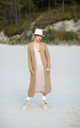 Long Oversized Cardigan with Pockets in Light Brown by MOE