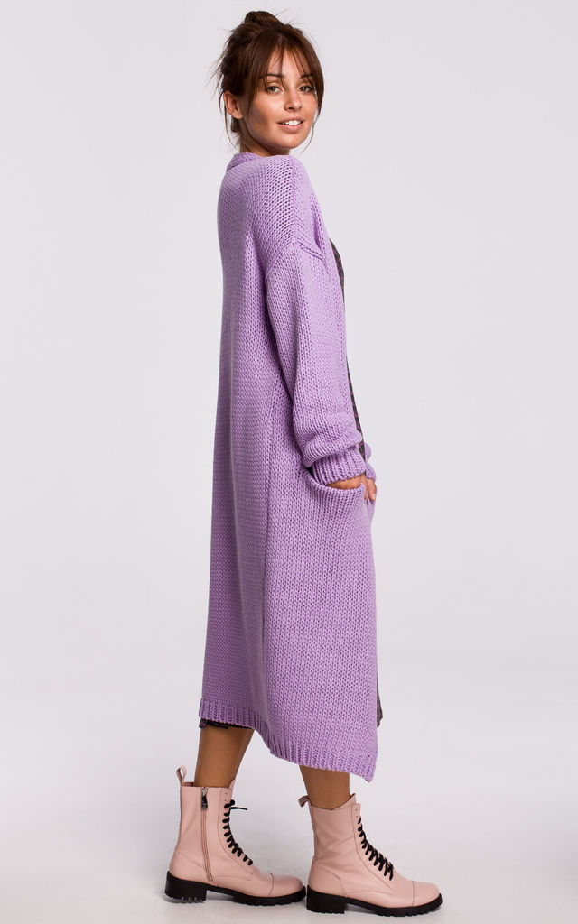 Long Oversized Cardigan with Pockets in Violet by MOE