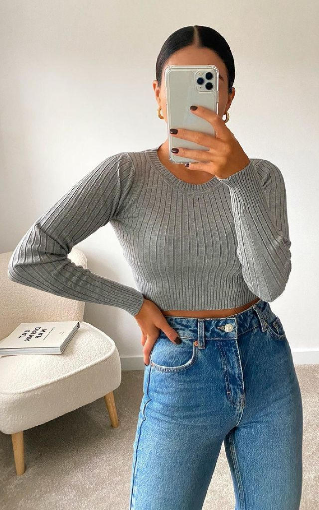 Cora Ribbed Crop Top in Grey by IKRUSH