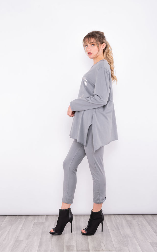 CC print Jumper Co-Ord (Grey) by Lucy Sparks
