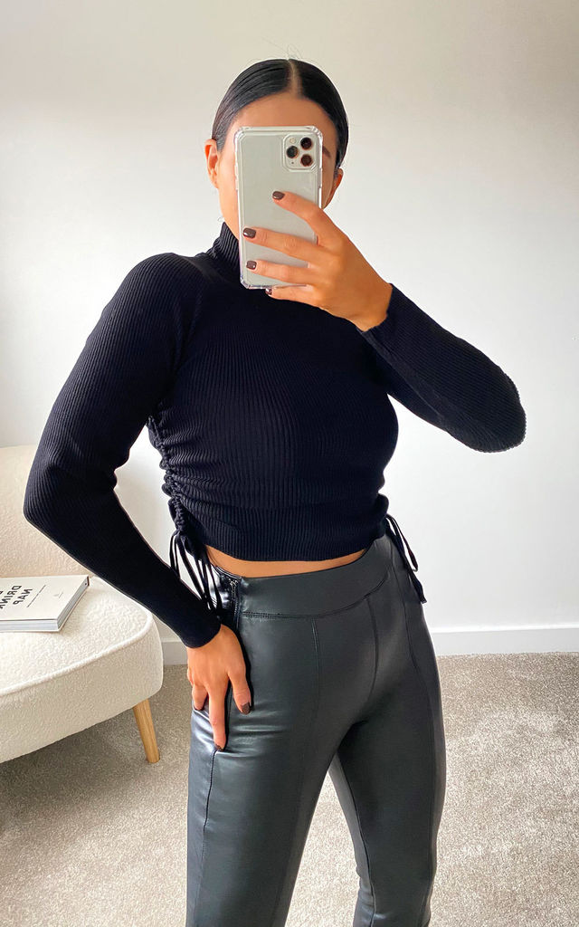 Lora Ribbed Crop Top in Black by IKRUSH