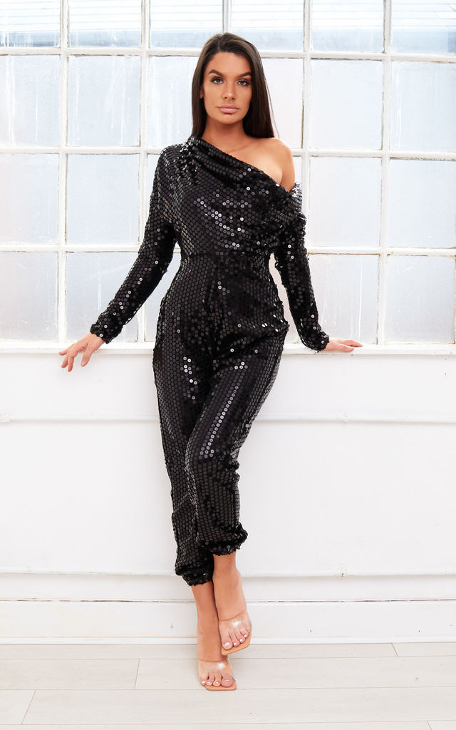 CRYSTAL off shoulder bardot sequin jumpsuit by Dolls Of Decadence